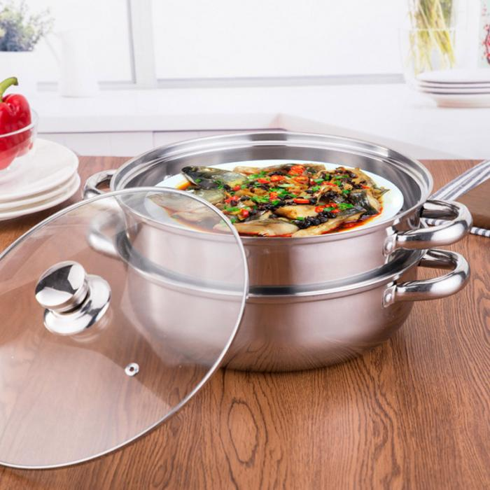 1/2 Tiers Stainless Steel Food Steamer Hot Pot Vegetable Cooker Cookware Glass