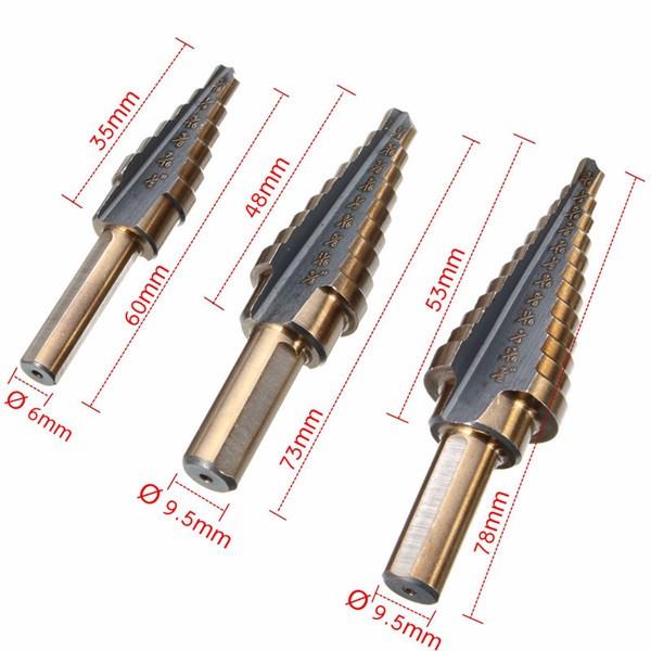 3pcs M7 HSS Step Drill Bit Set 3/16-1/2 1/4-3/4 3/16-7/8 Inch