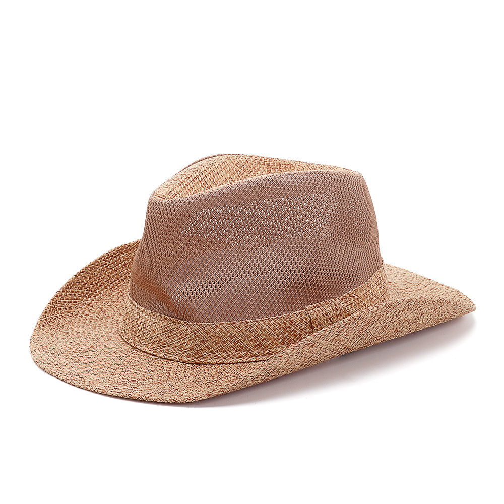 Straw Cowboy Hat Western Beach Sun Wide Brim Bucket Caps
