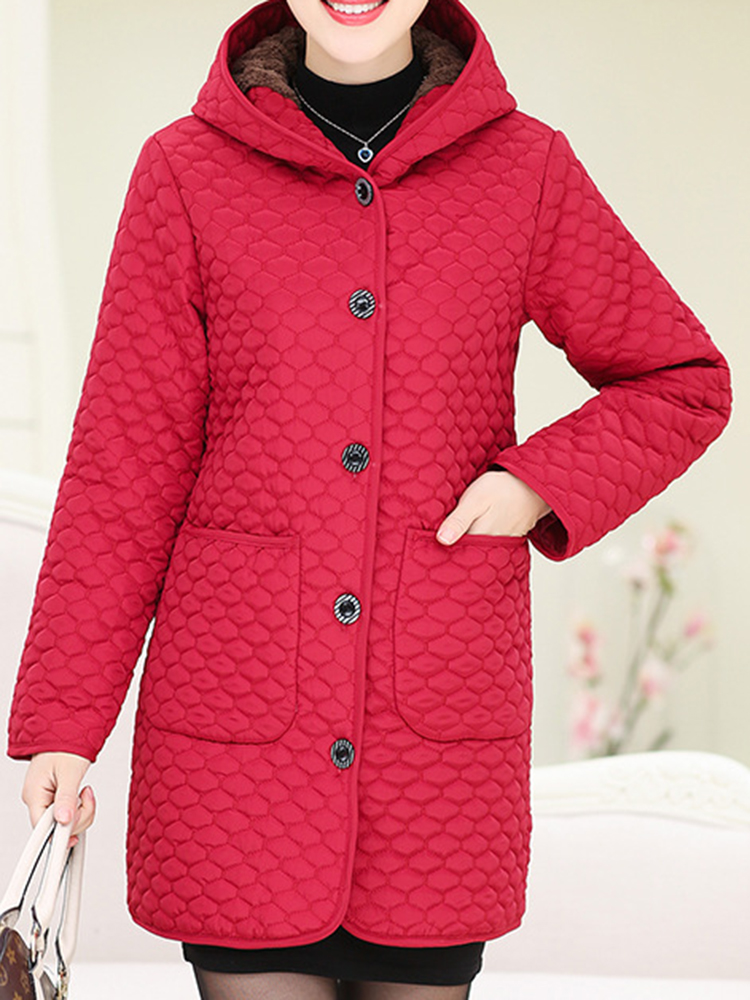 Women Pure Color Fleece Thicken Hooded Long Sleeve Coats