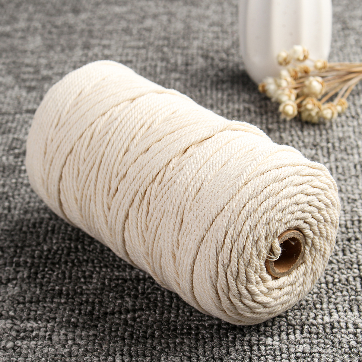 4Pcs 210m Cotton Rope Twisted Cord Rope Craft String Weaving DIY Tools 3mm Diameter