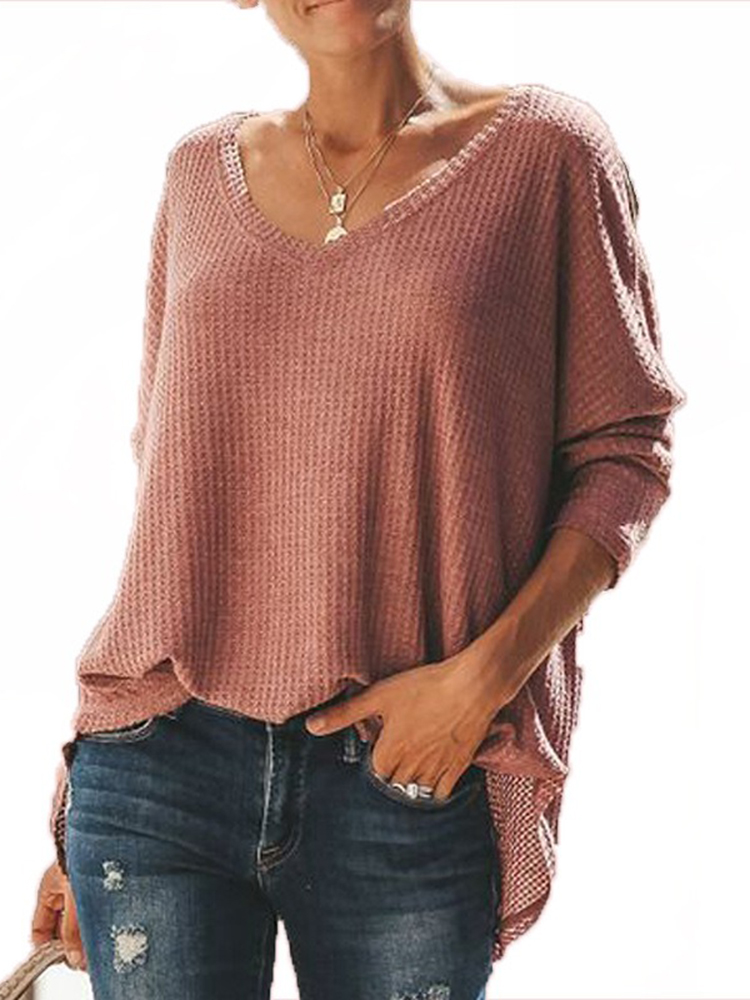 Solid Color V Neck Long Sleeve Autumn Winter Pullover Knit Sweaters