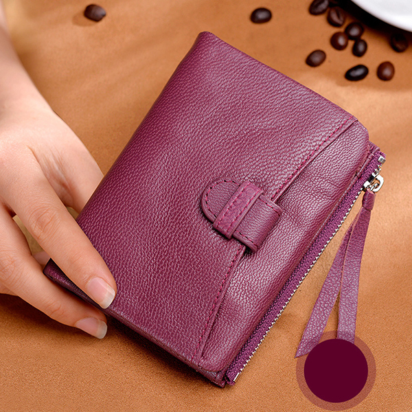 Women Light Genuine Leather Small Wallet Short Wallet