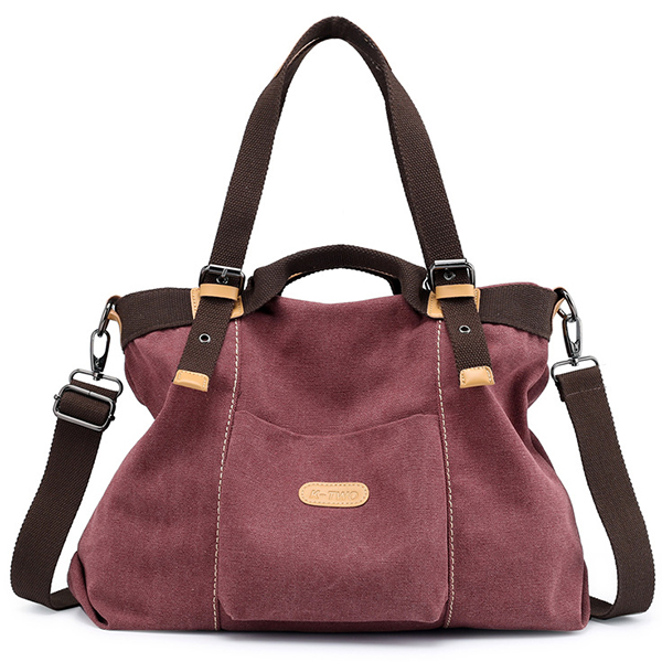 KVKY Canvas Tote Handbags Vintage Front Pockets Shoulder Bag