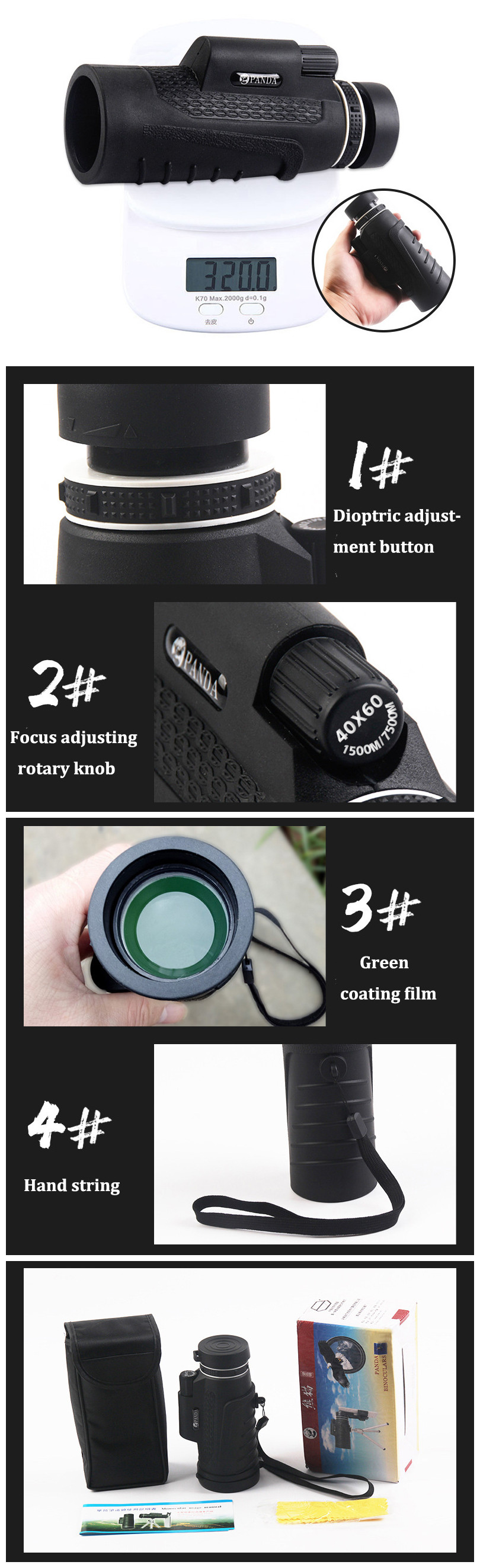 PANDA 40X60 HD BAK4 Monocular Low Light Level Night Vision Phone Telescope