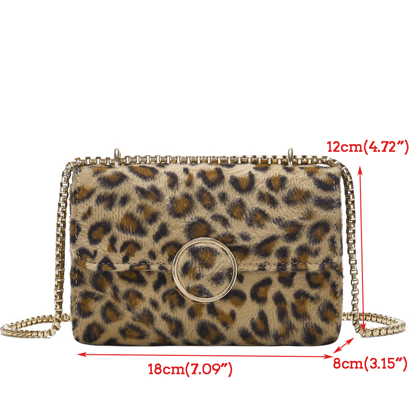 Women Plush Leopard Square Bag Shoulder Bag