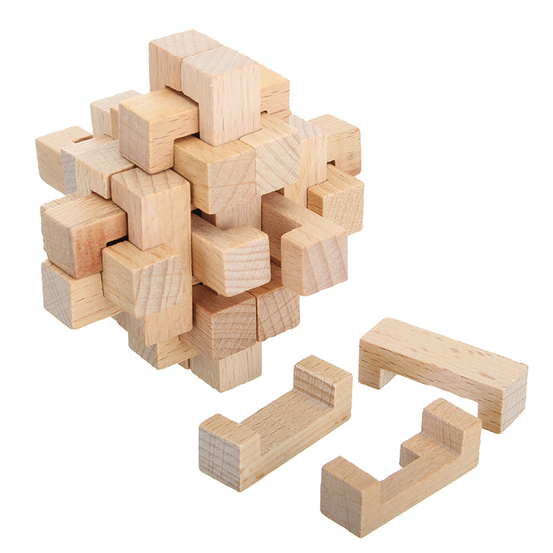 Kong Ming Lock Toys Children Kids Assembling Challenge IQ 3D Puzzle Cube Wood Toy