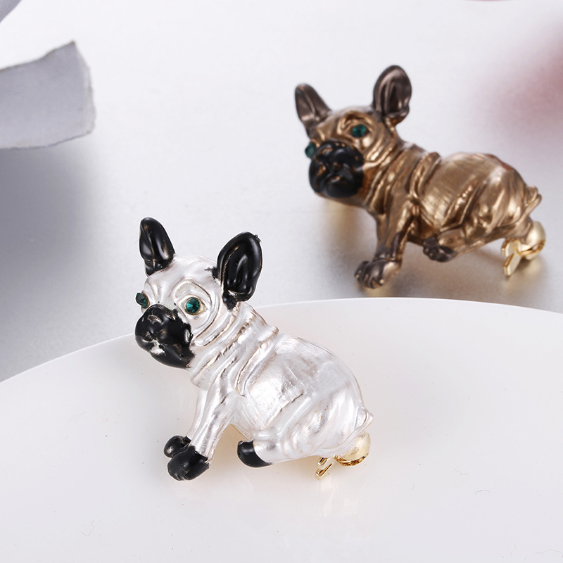 Cute Green Rhinestone Eyes Alloy Dog Brooch for Women Girl