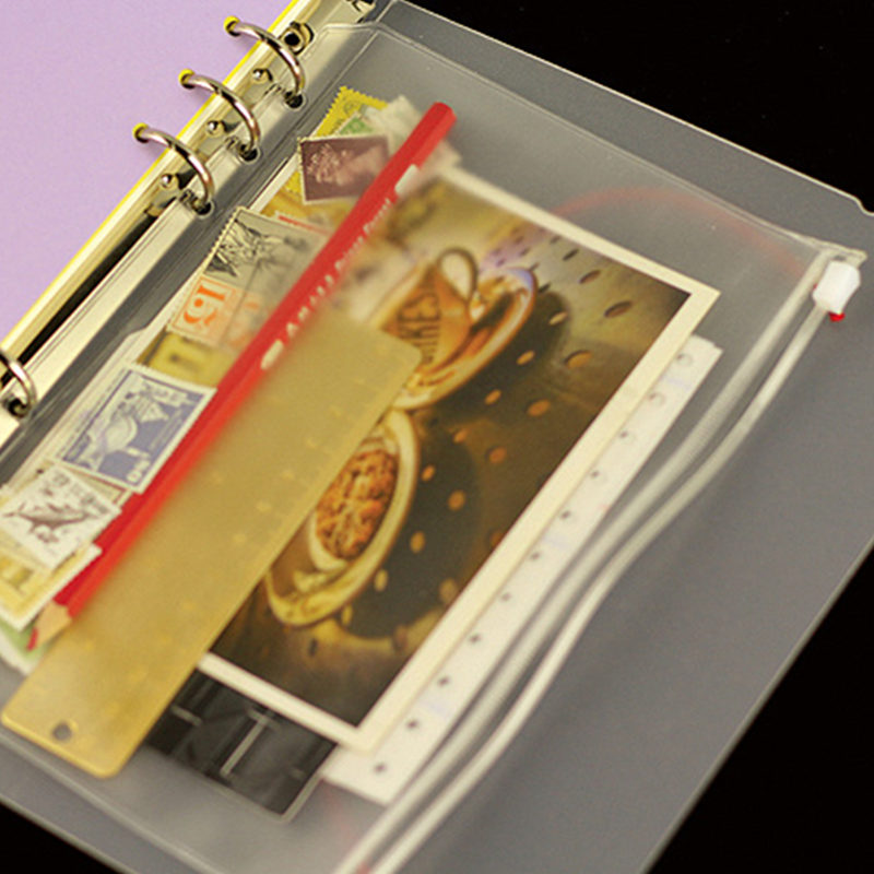 A5 A6 A7 PVC Transparent File Small Things Keeper Storage Bag for 6 Holes Spiral Binder Notebook
