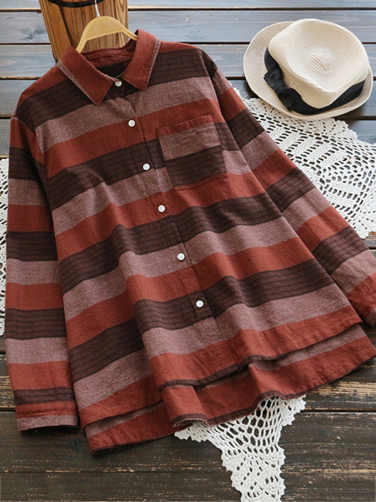 Women Linen Loose Striped High Low Hem Long Sleeve Blouse