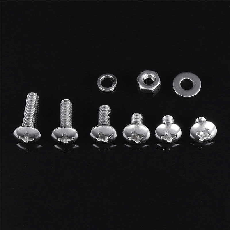 300pcs M3 304 Stainless Steel Phillips Screw Bolt & Hex Nuts Washers Assortment