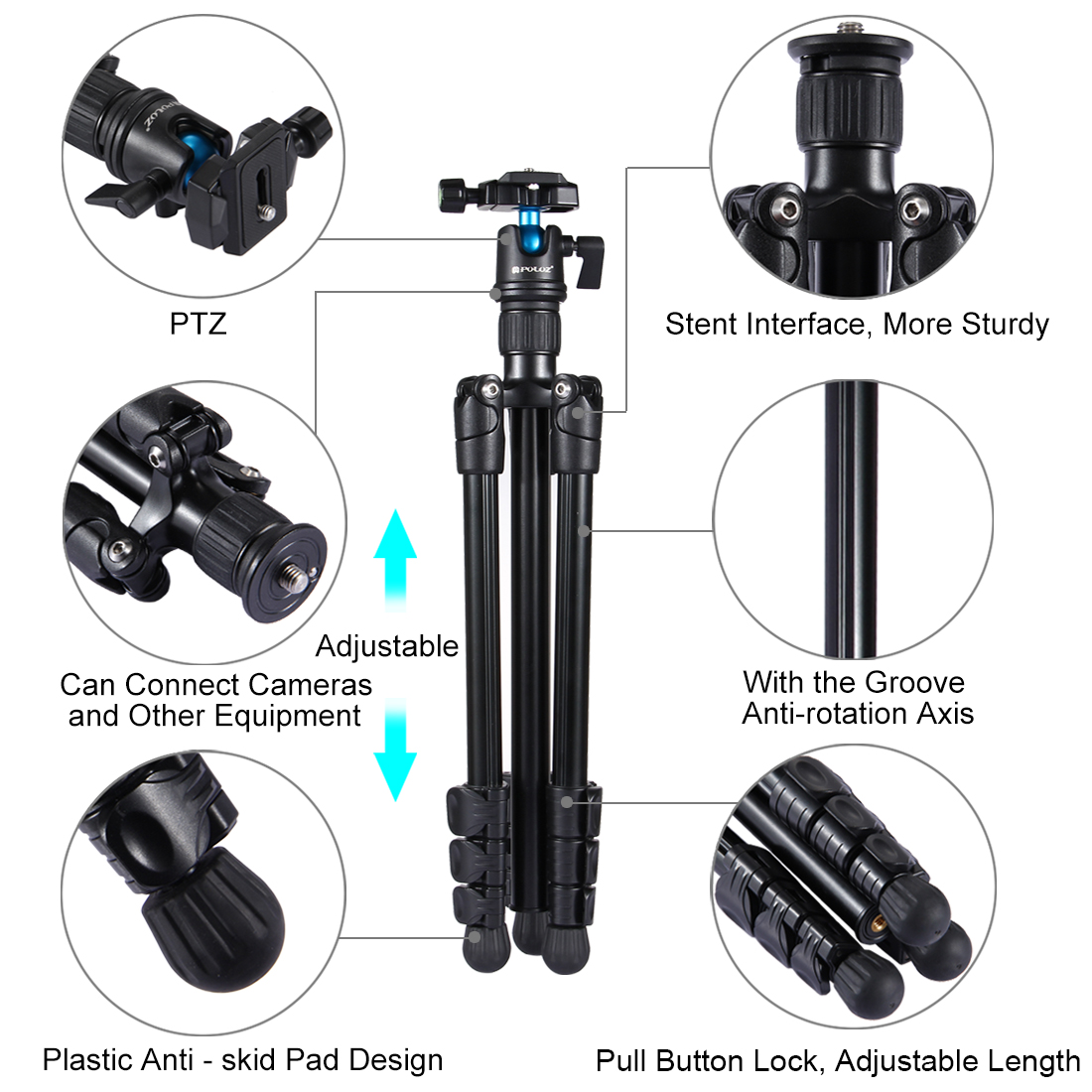 PULUZ PU3009 4-Section Folding Legs Metal Tripod Mount with 360 Degree Ball Head for DSLR Camera