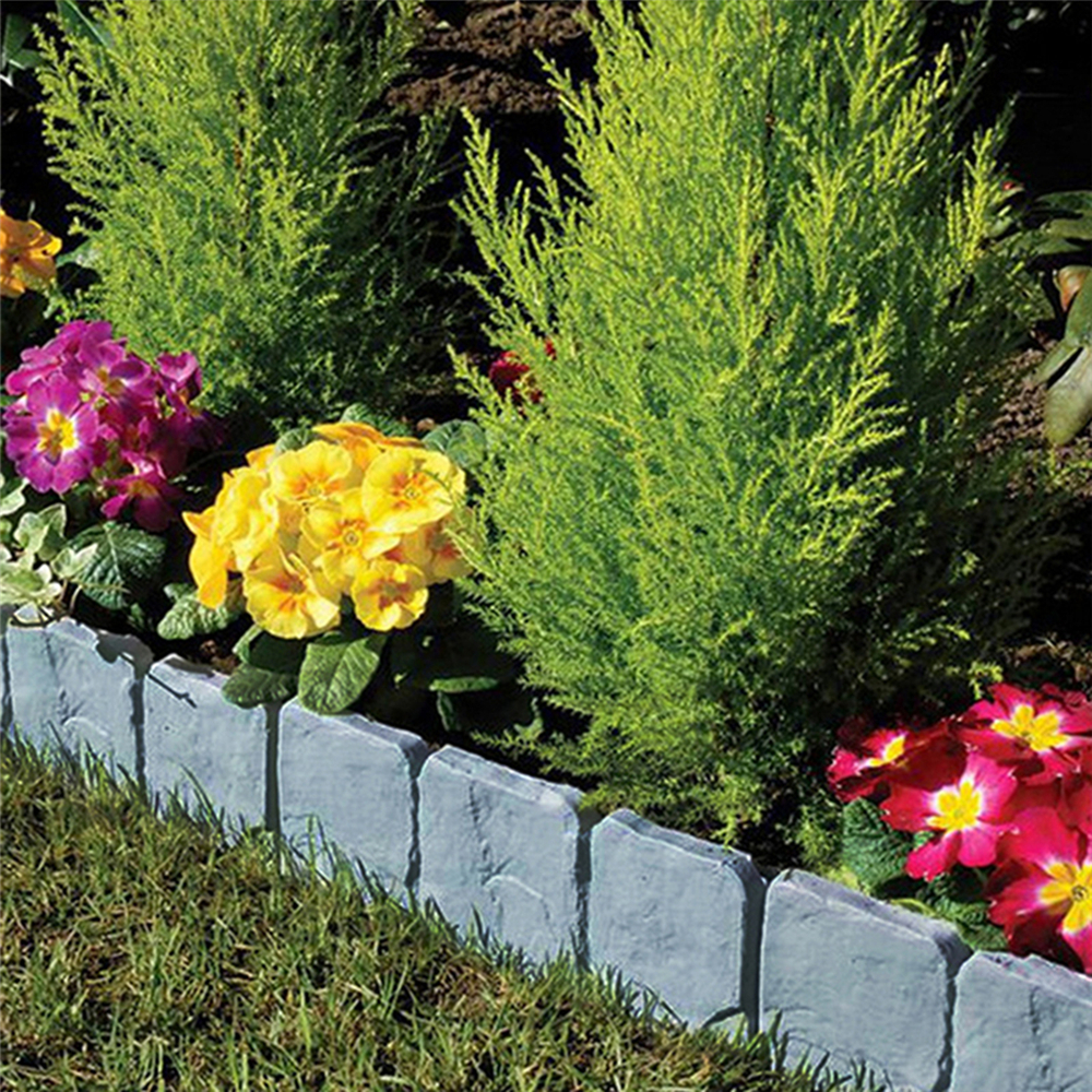 10pcs Home Garden Edging Plastic Fence Stone Effect Lawn Yard Flower Plant Border Decorations