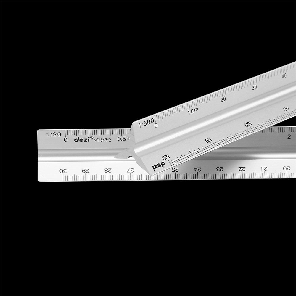 Drillpro 30cm Aluminum Alloy Triangular Scale Ruler Design Drawing And Decorations Straight Ruler