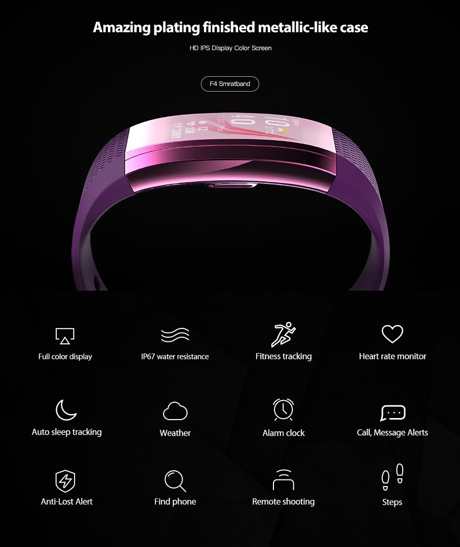 KALOAD F4 0.96 Inch Full Color IPS HD Display Waterproof Smart Watch Heart Rate Monitor Sport Smart Bracelet