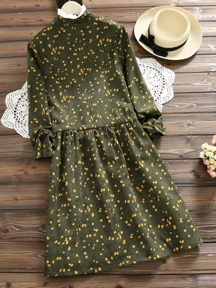 Mori Girl Printed Corduroy Dress