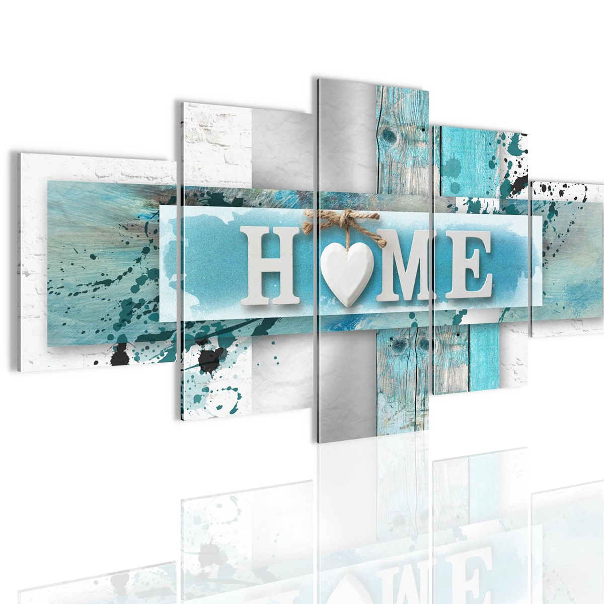 5 Panels Love HOME Wall Art Print Pictures Canvas Paint