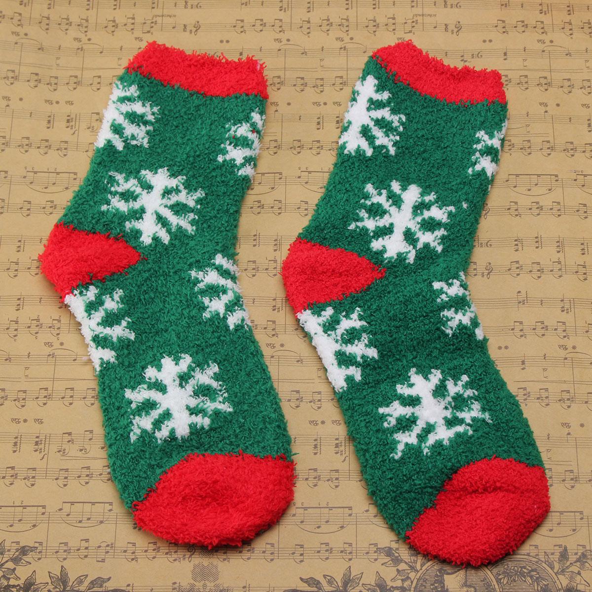 Women Ladies Cute Christmas Cartoon Pattern Socks Coral Fleece Bowknot Long Sox