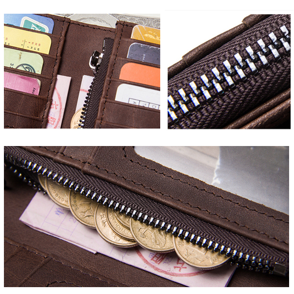 Men Coin Zipper Pocket Photo Slot Ticket Slot Fashion Wallet