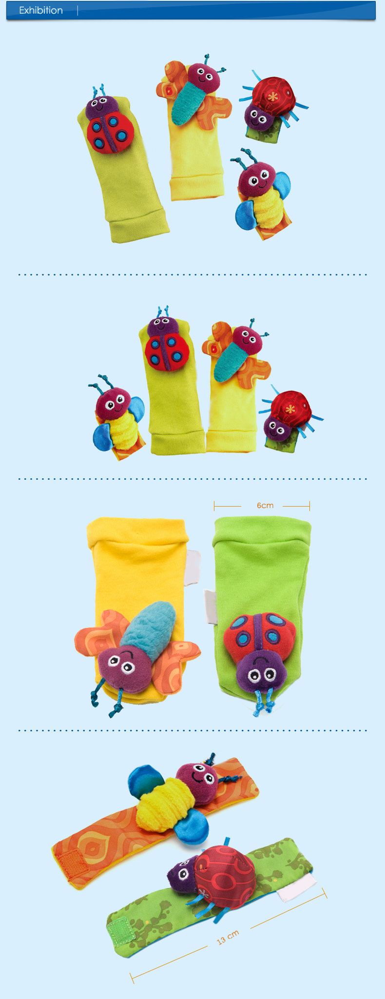 4Pcs Baby Infant Kids Cute Animals Rattles Foot Finders Toys Hand Wrist Socks Set