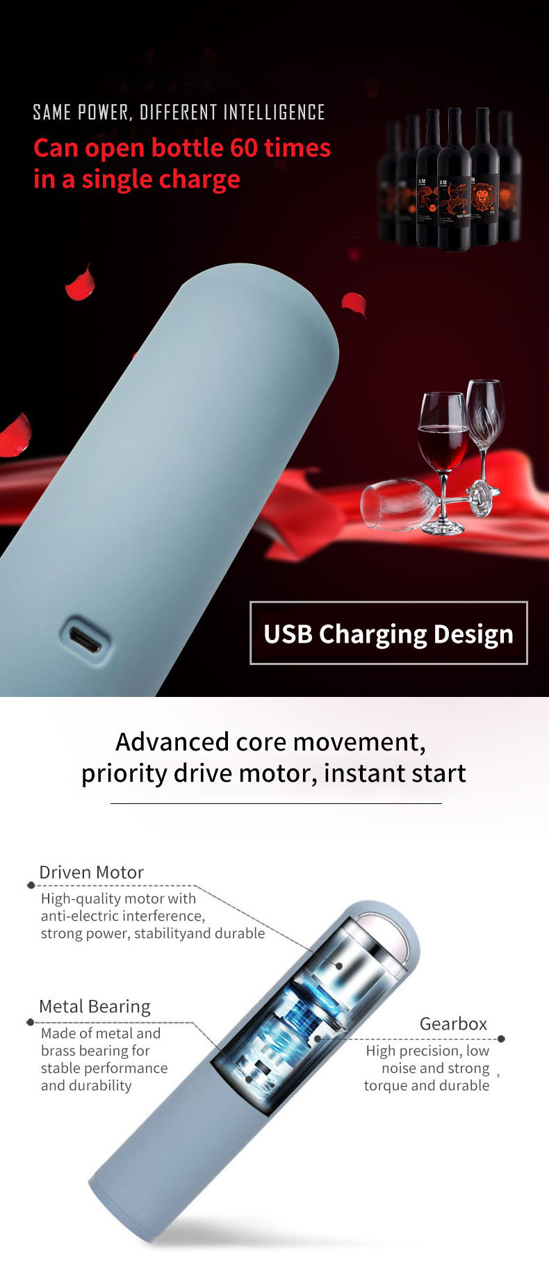 KCASA Electric Wine Beer Bottle Opener USB Charging Automatic Cap Lifter Portable Wine Bottle Opener For Bar Party Wedding Wine Tools