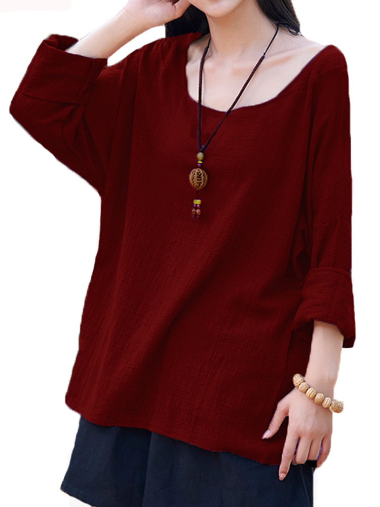 Casual Women Long Sleeve Pure Color Loose Cotton Blouses