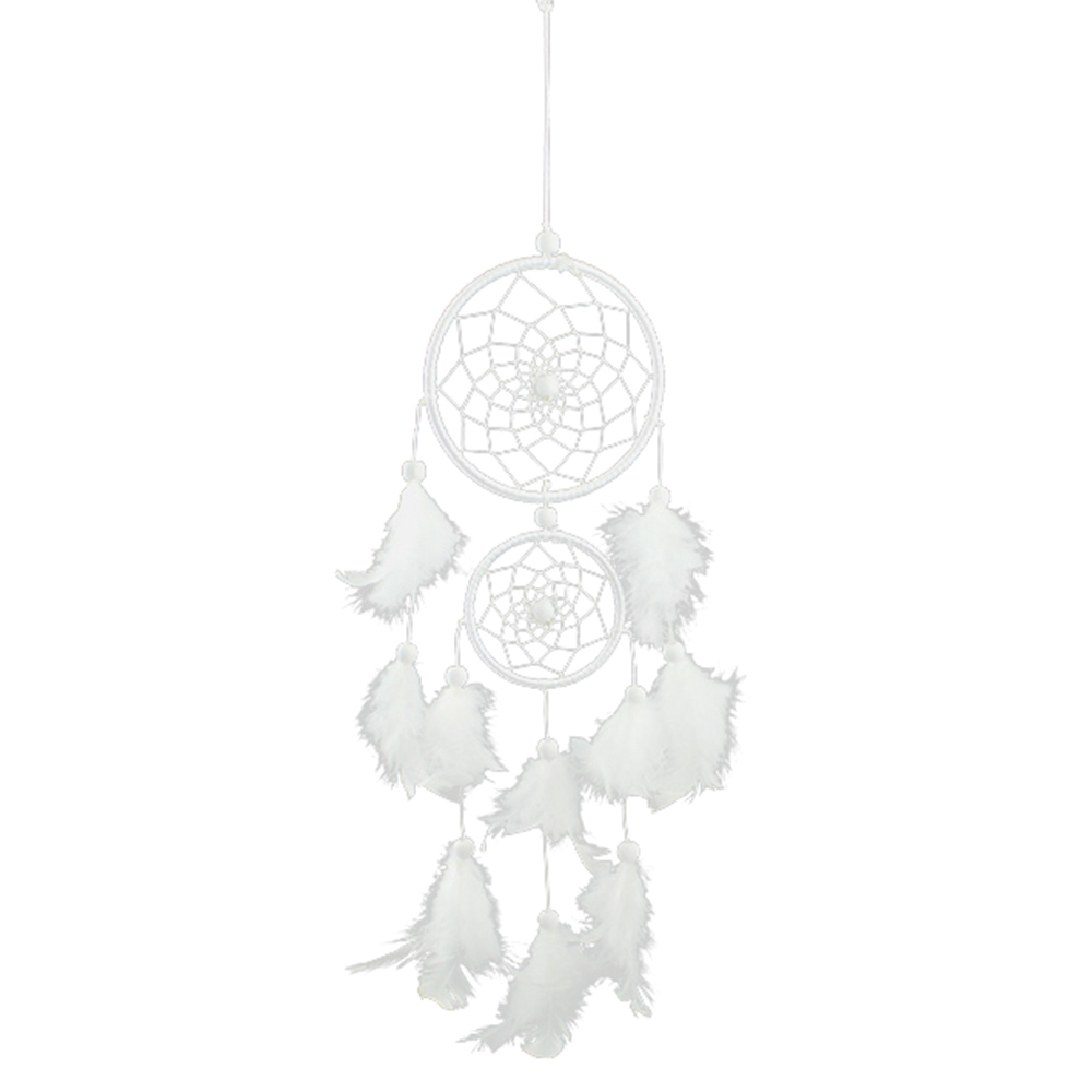 White Lace Flower Dream catcher Wind Chimes Decorations Feather Pendant Dream Catcher Creative Car Hanging Decoration Dream Catcher Two Rings Handmade Beautiful Hanging Decoration