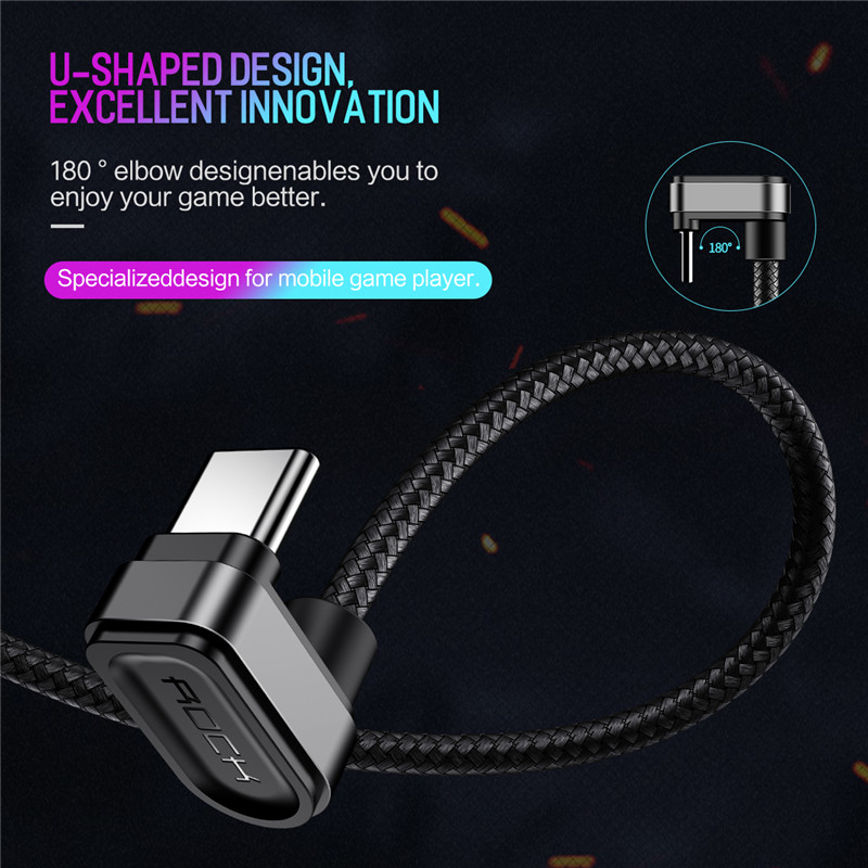 Rock 1.0M Metal Nylon Weaving Data TYPE C Games Cable For Cellphone Tablet