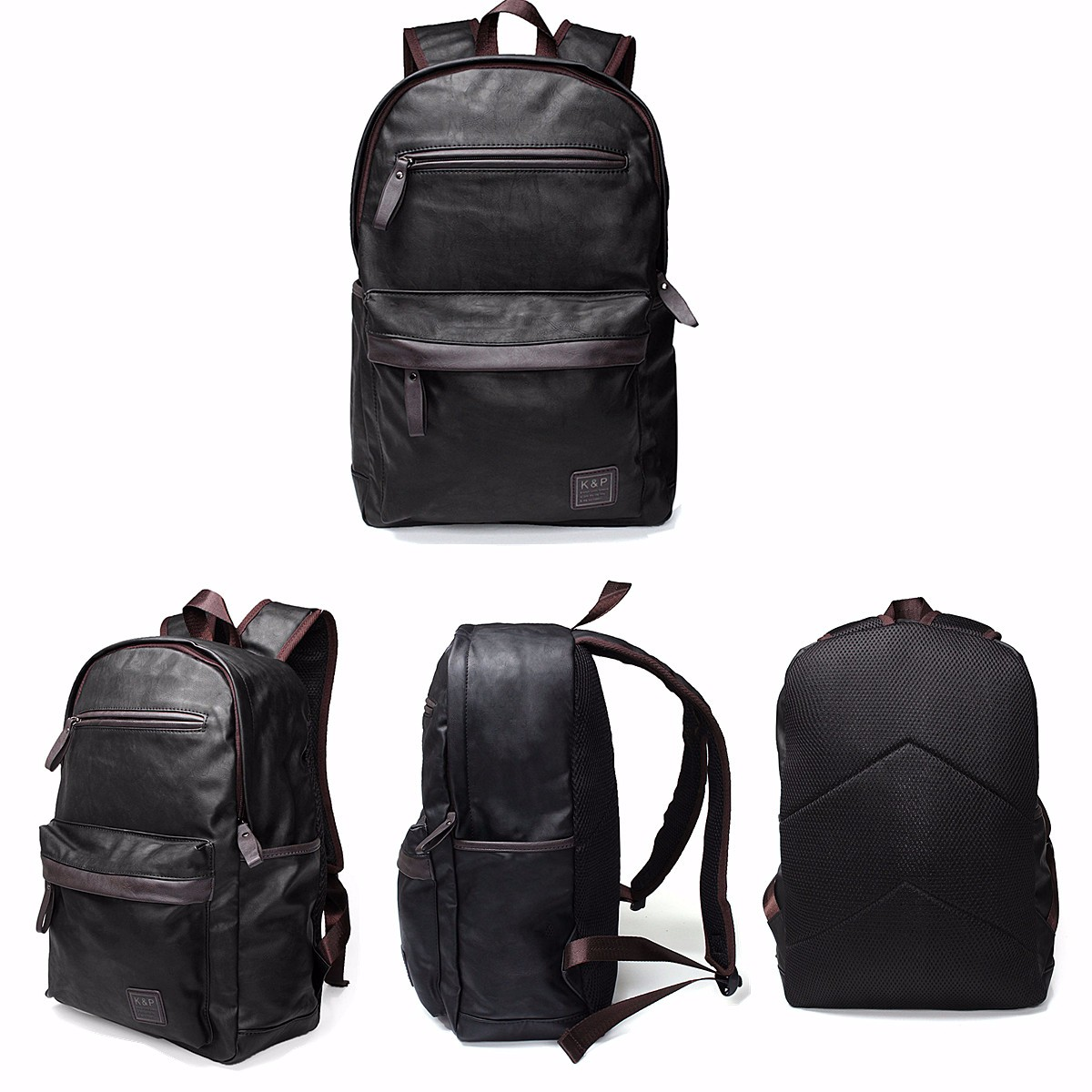 Mens Leather Laptop Hiking Backpack Rucksack Shoulder Travel School Bag