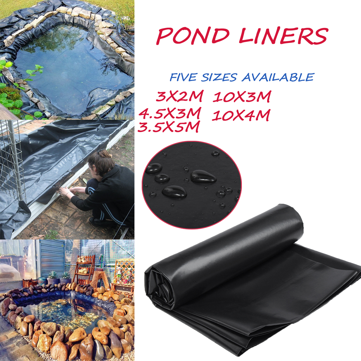 5 Sizes Reinforced HDPE Membrane 0.3mm Fish Water Pond Liner Pool Impermeable Landscaping Rubber Mat