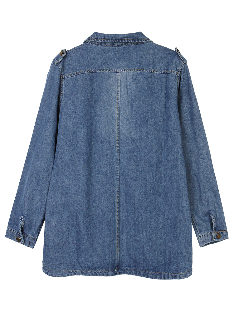 Casual Women Button Pockets Frayed Denim Trench Coat Jacket