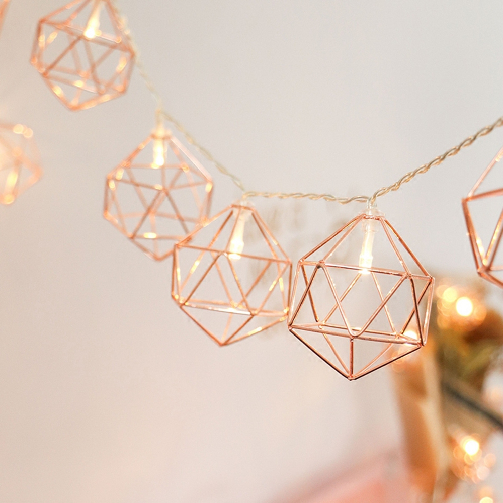 Battery Operated 1.5M 6W 10LED Vintage Warm White Rose Gold Hexagon Shape String Light DC3V