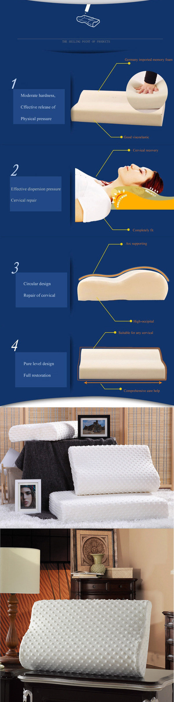 Washable White Slow Rebound Memory Foam Pillow Neck Soft Cervical Health Care Pillows