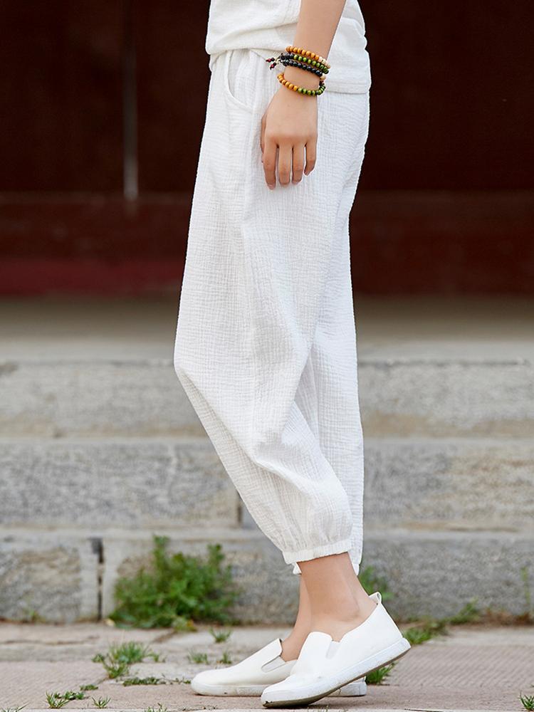Women Casual Elastic Waist Loose Solid Color Pants