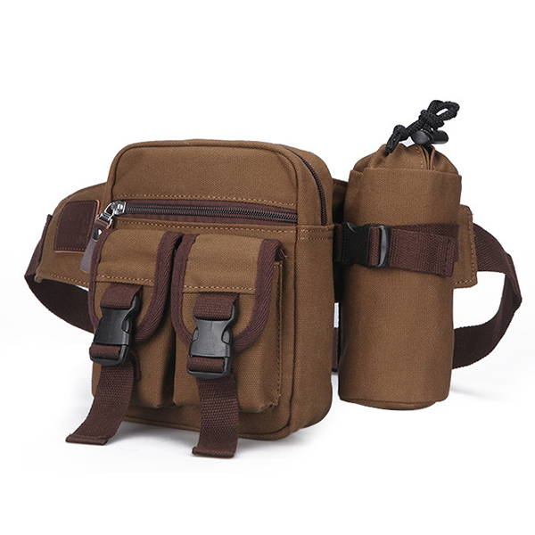 Canvas Outdoor Sports Fanny Pack Crossbody Bag Multifunctional Kettle Tactical Bag Waist Bag for Men