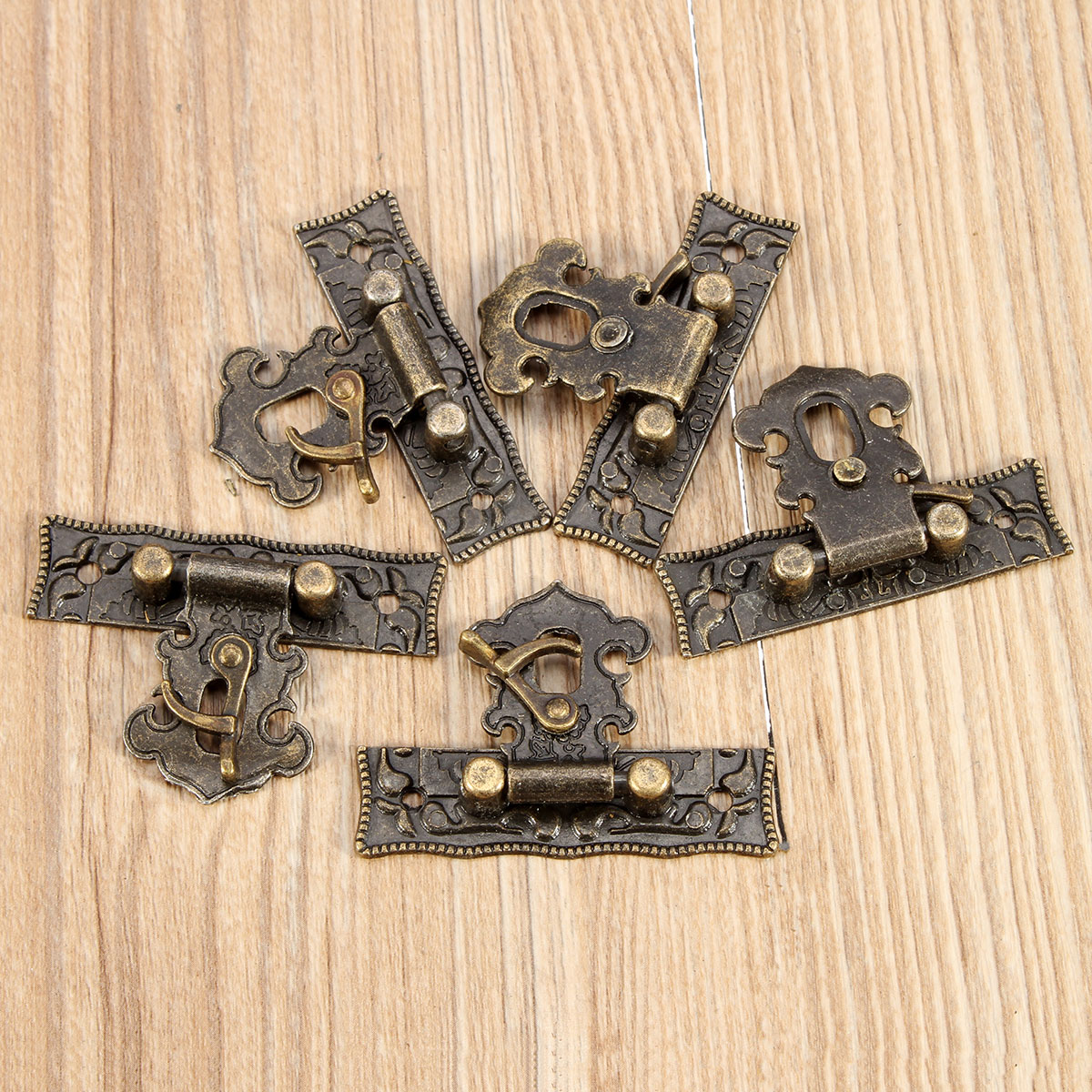 5Sets Bronze Wooden Lock Box Suitcase Toggle Latch Buckles Tone 5.1cm x2.9cm
