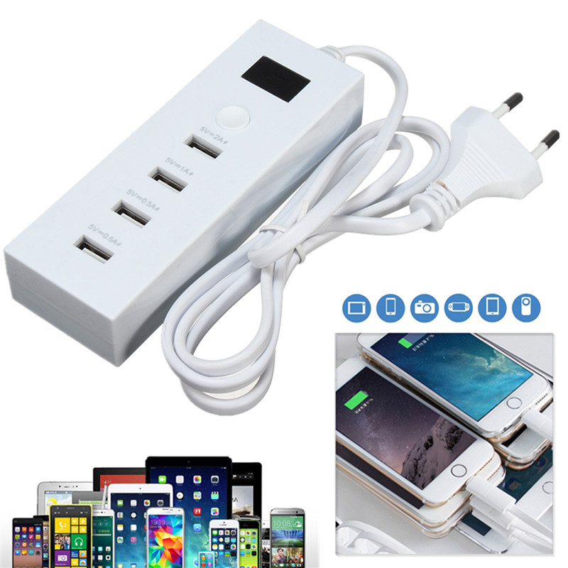 4 Port USB LED Wall Charger Power Adapter EU Plug For iPhone 6s/7 Samsung Tablet