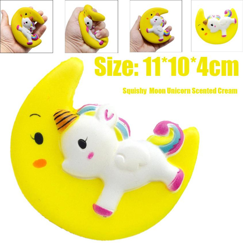 Cartoon Unicorn Moon Pegasus Squishy 11cm Slow Rising With Packaging Collection Gift Soft Toy Yellow
