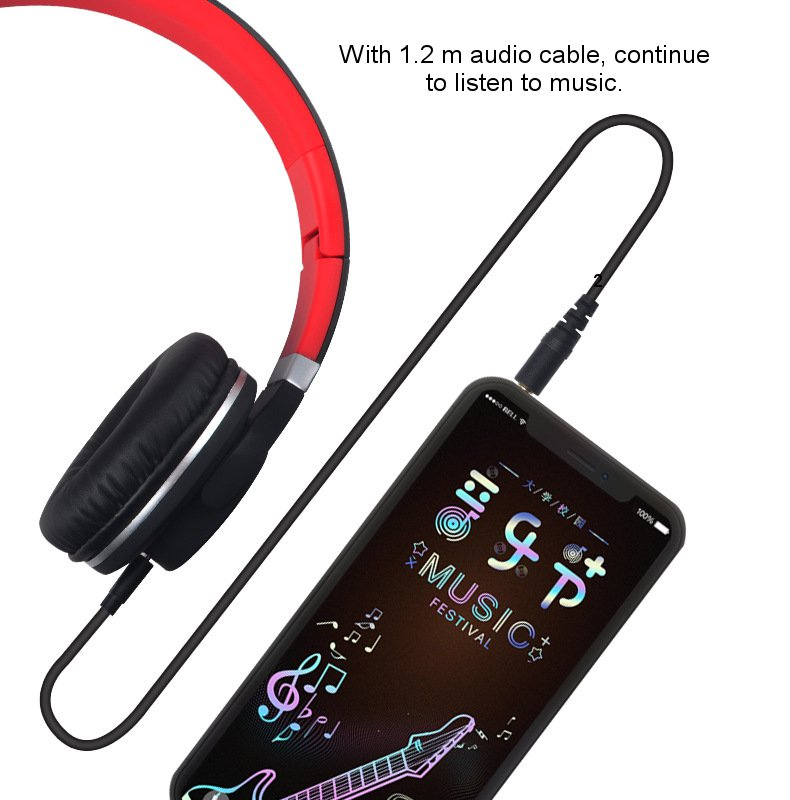 Foldable bluetooth HIFI LED Wireless Subwoofer Headsets Headphone With Mic for Game Computer Phone