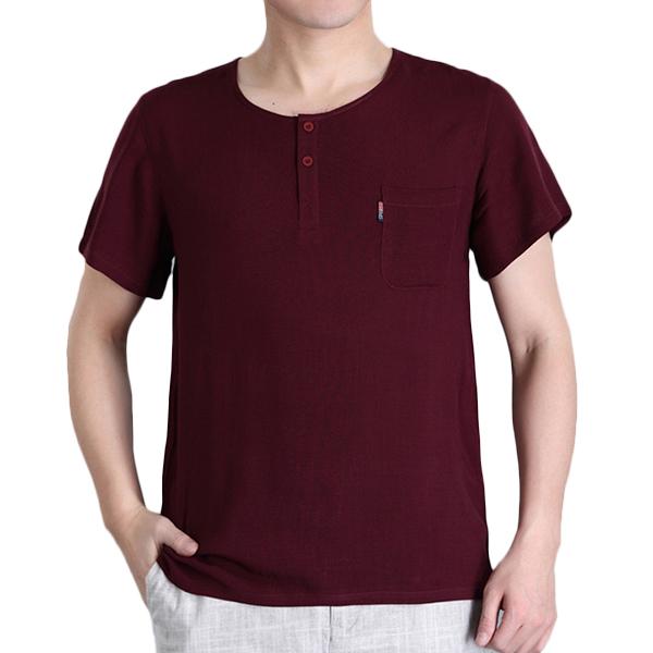 Men's Casual Linen T-shirt Summer Button Pocket Short Sleeved Tops Tees