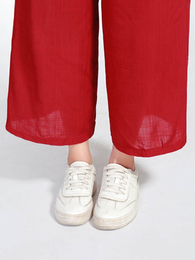 Women Casual Elastic Waist Wide Leg Pants