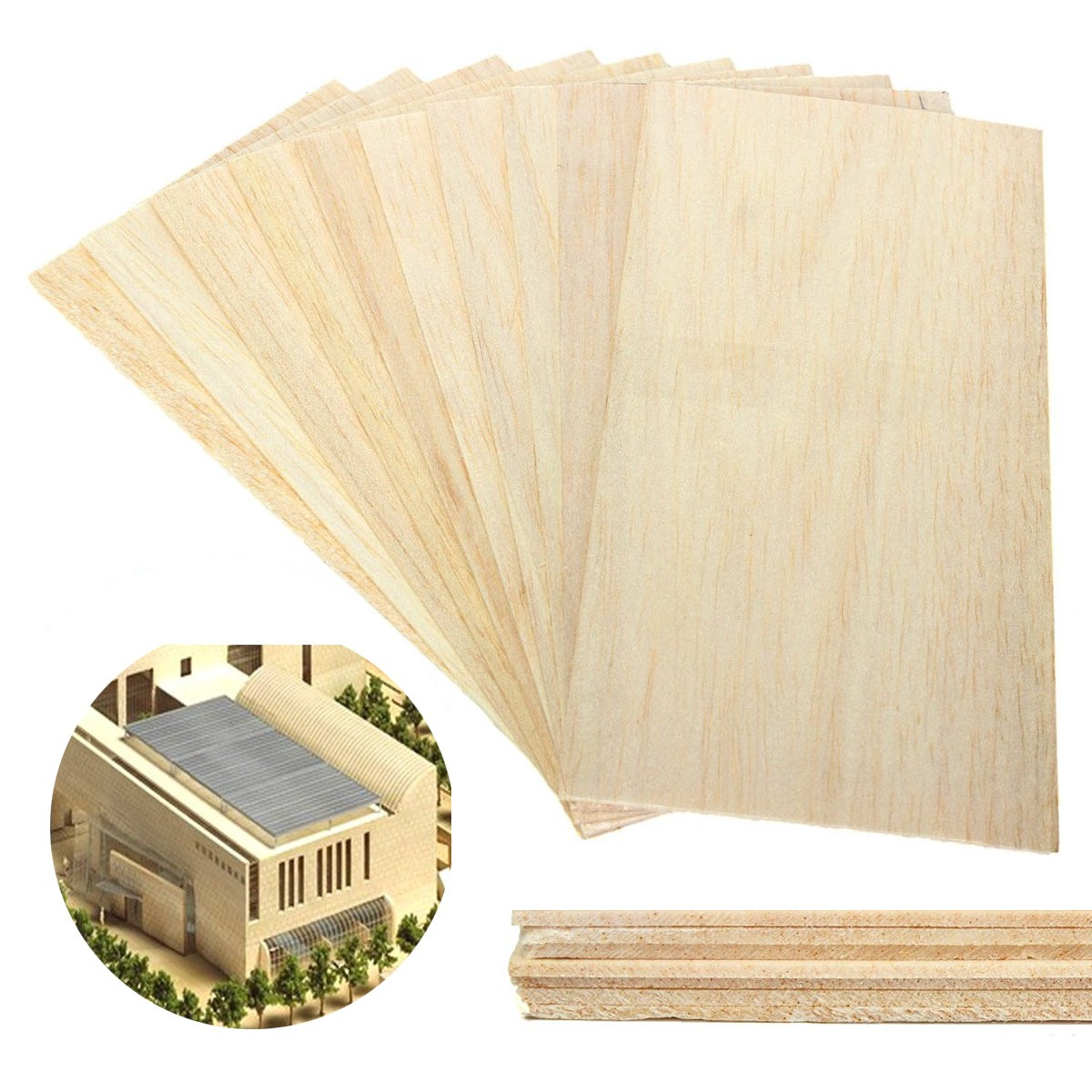 200x100x1.5mm 10Pcs Balsa Wooden Sheet Light Wood Plate DIY Model House Aircraft Ship