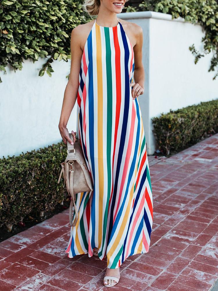 Women Striped Halter V-neck Sleeveless Dress