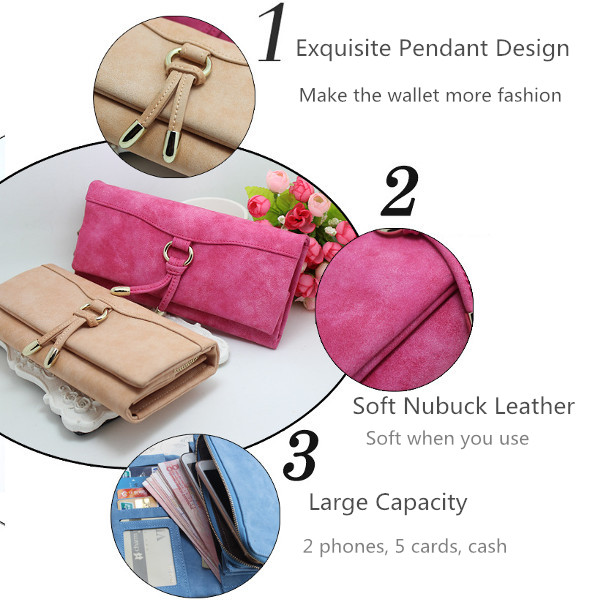 Zipper Nubuck Leather Long Wallet 3 Fold Purse Card Holder 5.5'' Phone Case Bags For Iphone