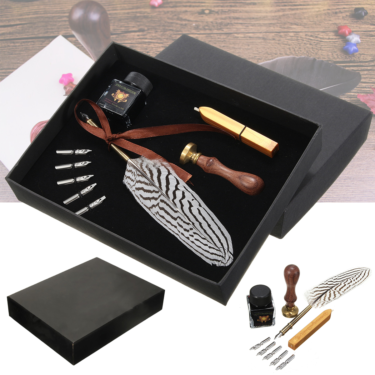 Antique Feather Writing Quill Pen Ink Seal Wax Set Coll