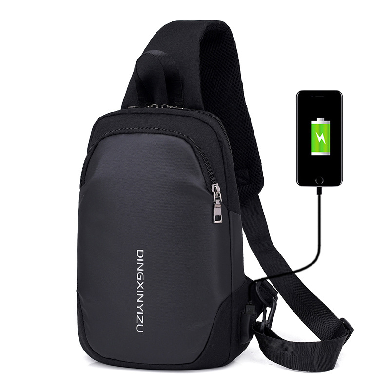 Men Nylon Leisure Waterproof Chest Bag With USB Charging