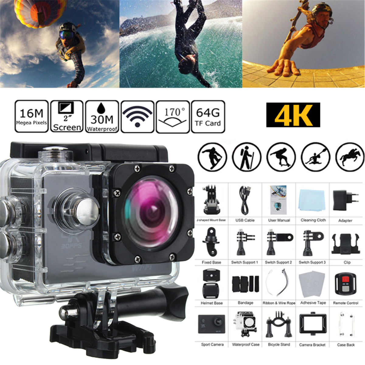 4K SJ8000R 1080P Ultra 2.0 Inch Wifi Sport DV Action Camera Camcorder Remote Control