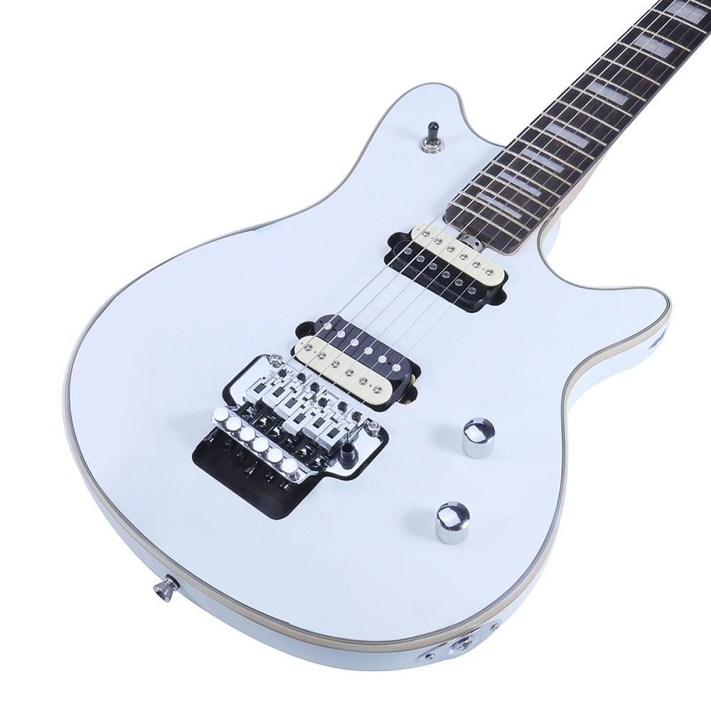 22 Frets Electric Guitar Basswood Body Rose Bridge Maple Neck White Color Music Instrument