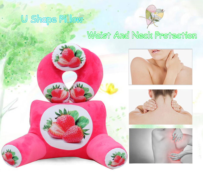 Plush Squishy 3D Fruit Printing U Shape Neck Pillow Waist Back Cushion Sofa Bed Office Car Chair Decor