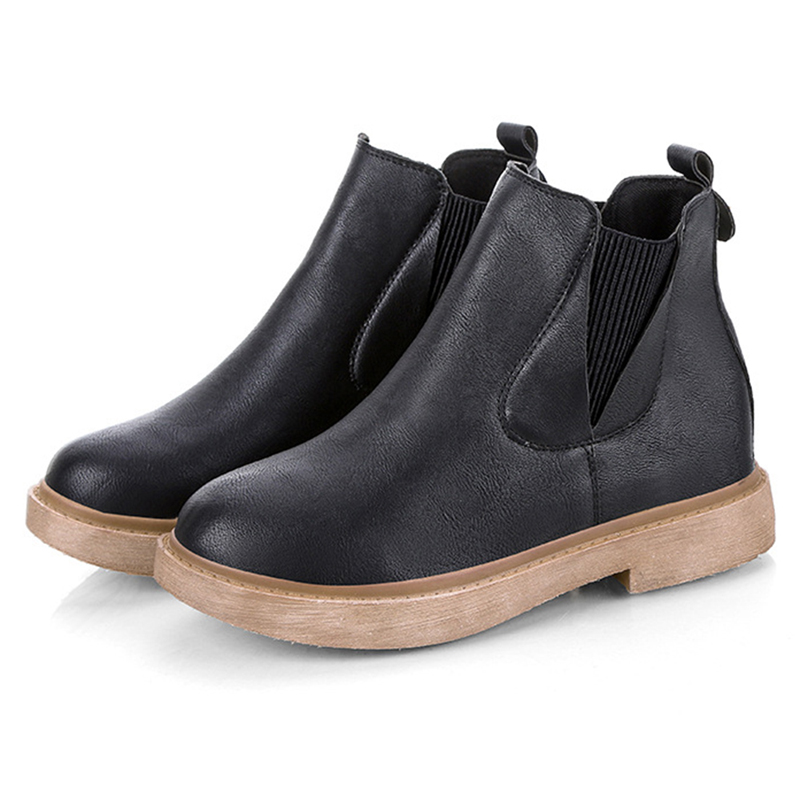 Women Round Toe Slip On Casual Winter Ankle Boots